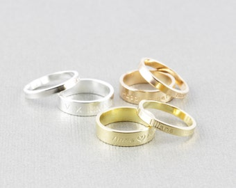 His and her Name Ring / initial Ring / Personalized name Jewelry / Location Ring / messag ring ( R 150)