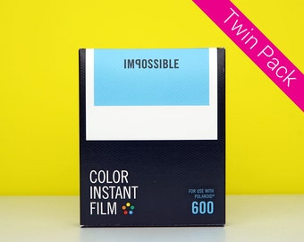 Polaroid Film 600 - Twin Pack - Impossible Project Colour Film For Polaroid 600 Style Instant Camera - Classic White Frame