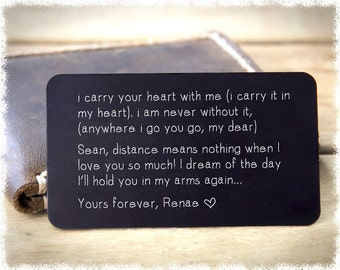 Metal Wallet Insert ~ Boyfriend Gift ~ Valentines Day Gift ~ Mens Personalized Wallet Card ~ Engraved Wallet Card ~ Anniversary Gift For Him