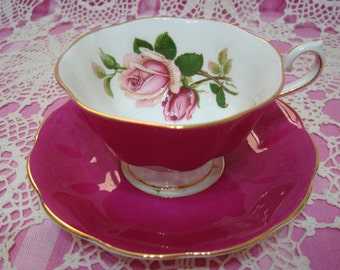Beautiful Vintage Royal Albert Fuchsia ANNIVERSARY ROSE Cup & Saucer.