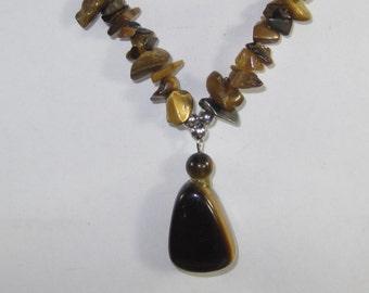 H-26 Vintage Necklace 150 tiger eye stones size 18 inchs
