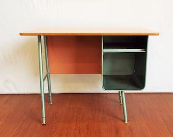 Old School 60's Metal Desk - Small Space- Studio Living- Industrial Modern