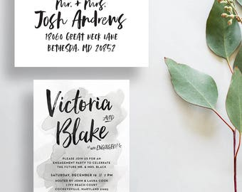watercolor engagement party invitations // gray watercolor party invites // silver watercolor // brush lettering // PRINTED invites