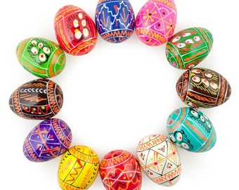 "1.25"" Set of 12 Ukrainian Painted Wooden Easter Eggs Pysanky- SKU # gs-117"