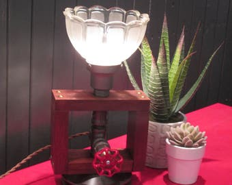 Table - wood, antique glass, pipes Table lamp - wood, antique glass, lamp pipes