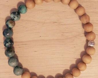 African Turquoise, Sandalwood, Hill tribe silver elastic bracelet, gemstone bracelet