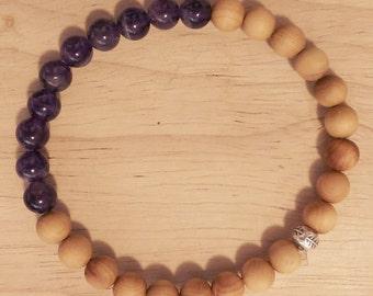 Amethyst, Sandalwood, Hill tribe silver elastic bracelet, gemstone braceley