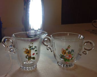 Vintage hand painted clear cream and sugar