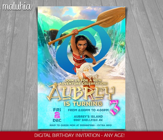 Tropical Moana Printable Birthday Party Invitation Princess Invitations