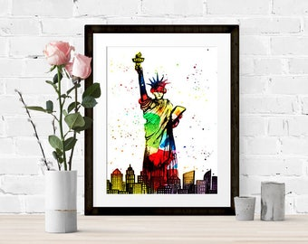 New York City, watercolour, printable, home decor, statue of liberty, travel, print, instant download