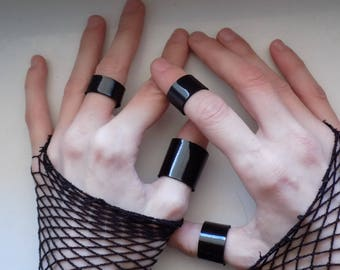 Set Of Black Leather Rings No2/Black Leather Rings/Punk Goth Leather Rings/Vinyl Leather Rings