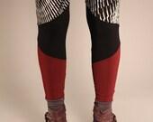 Leggings Small burgundy and black- yoga leggings