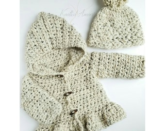 Crochet Sweater and Hat Set , baby hooded crochet sweater, toddler hooded crochet sweater, child hooded crochet sweater
