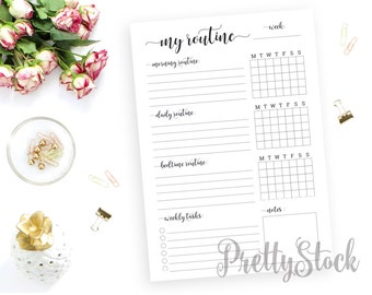 Routine Printable, Routine Printable Planner Inserts, Weekly Routine Printable, A4, A5, Letter, Half letter, Binder Printable