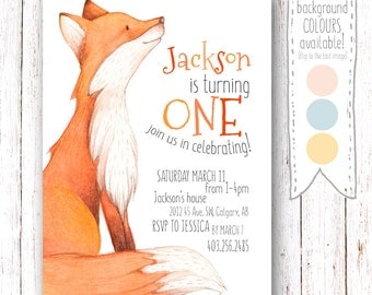 Woodland Birthday Invitation, Fox Birthday Invitation, Woodland Invitation, First Birthday Invitation, Woodland Invite, Fox Invitation, Fox