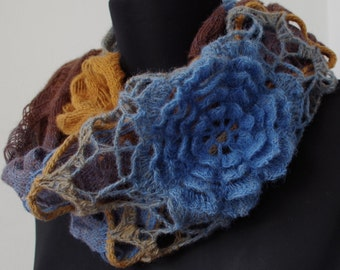 Scarf infinity scarf Winter Scarf Cowl Knit Scarf Brown-blue shawl women circle scarf Knitted circular infinity shawl oversized chunky scarf