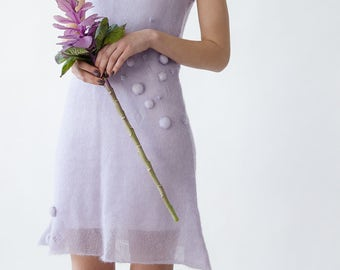 LILAC FLAVOUR DRESS - hand knitted kid mohair silk dress