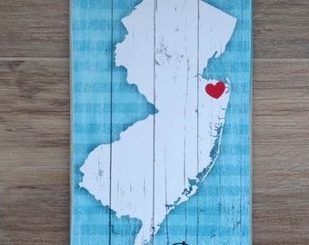 New Jersey / Middletown NJ/ Jersey Shore / Wood Sign / or Custom Town with Heart