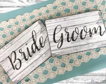 Bride or Groom Wedding Wood Sign/ or Bride and Groom Wood Sign Set