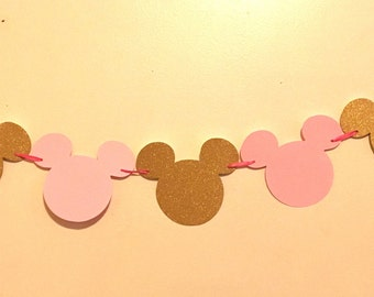 Minnie Mouse Garland - Light Pink and Gold Minnie Mouse Birthday - Minnie Mouse Party Decorations - Minnie Mouse Banner - Minnie Mouse