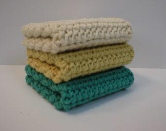 Handmade Crochet Cotton Dishcloths or Washcloths, 3-Pk: Deep Sea Blue-Green, Yellow, Cream (Dishcloths-5903)