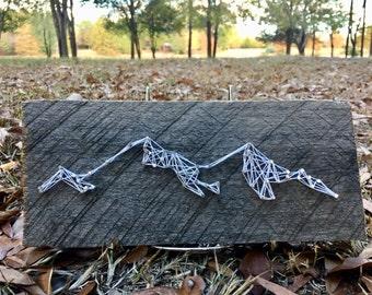 Mountain String Art on Antique Barn Wood