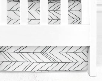 Gray Herringbone Crib Skirt, Arrows nursery, tribal nursery, 3 snd 4-sided crib skirt, boy crib skirt, girl crib skirt, arrows, crib bedding