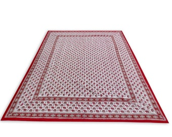 Indian Hand Block Printed Elephant Design Cotton Double Bed sheet in Red Color size 90x108""