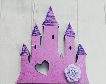 Princess Castle Decoration, Glitter, purple, pink, freestanding ornament, flowery, girls nursery, bedroom, birthday gift, present, fairytale