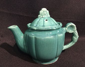 Shawnee Rosette Teapot with celadon green glaze 1940's