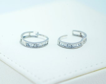 925 Sterling Silver - Skinny Hinged Hoop Earrings (S261)