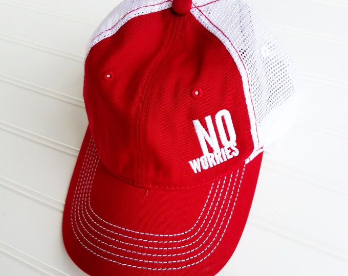 Featured listing image: SALE---No Worries Hat, Royal Blue, Red, No worries, baseball hat, red hat, royal hat, positive mantra