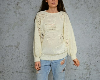 Cream sheer sweater chunky pullover white 80s Cable Knit grandpa Oversized L Large size