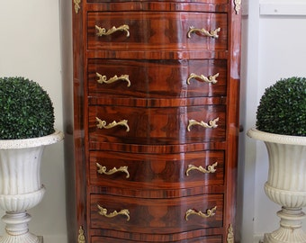 French King Louis XVI Style Bedroom Chest of Drawers with Marble Top