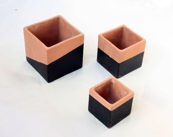 Geometric ceramic planters, square pots, modern clay planters, set of 3.