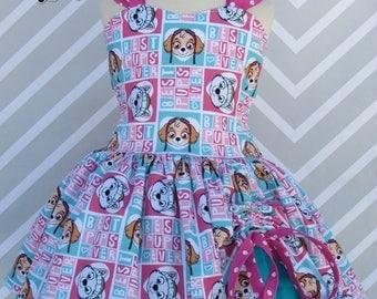 Girls Pink Paw Patrol Skye Everest custom handmade birthday party pageant dress skirt outfit