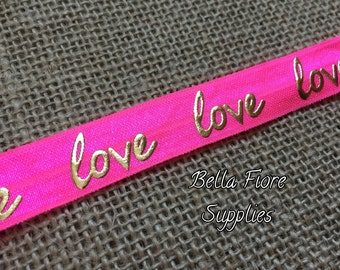 Love Fold Over Elastic- Hot Pink FOE- Fold Over Elastic- Wholesale Elastic- DIY Headband- Valentines Day FOE- Elastic By The Yard-