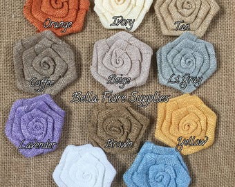 Burlap Rolled Rosette Flowers- 3 Inch Burlap Flowers- Ivory- Tan- White- Blue- Yellow- Orange- Lavender- Beige- Gray-