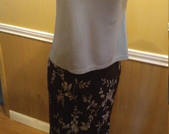 Vintage Casual Corner Flower Patterned Skirt Size M