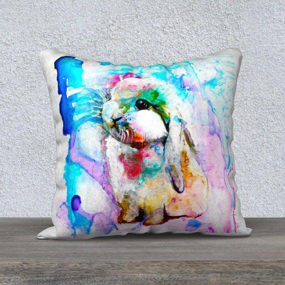 Cute Bunny Pillow : Bunny Watercolor Pillow Cover 16x16 Cute Bunny Pillow