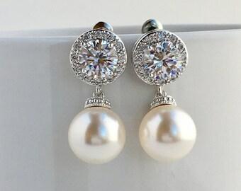 Pearl Bridal Earrings  Crystal Bridal Halo Earrings Wedding Cubic Zirconia Earrings Pearl Crystal Earrings Bridal Swarovski Pearl Earrings