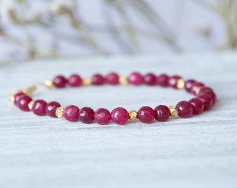Ruby Birthstone Bracelet,  Genuine Ruby Bracelet, Real Ruby Bracelet, Genuine Ruby Jewelry, Ruby Bracelet for Her, July Birthstone Bracelet