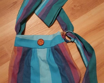 Woven wrap scrap Boho Style Bag - Girasol Double Rainbow