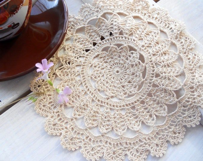 8 inch Handmade Beige Lace Doily, Beige Table Decoration, Round Cream Doilies, Gift for Her, Housewarming Gift, Beige Tablecloth, Cream Deco