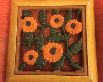 Beautiful Vintage Trivet, Made in France of Cast-Iron and Wood