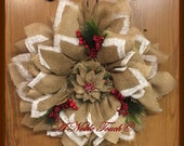 Rustic, Burlap and Berries Christmas, Holiday, Winter Wreath by A Noble Touch