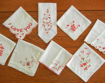 """Eight Vintage Cotton Hankies Handkerchiefs Embroidered with Valentine's Day Theme 10"""" to 12"""" Square--Lot #8"""
