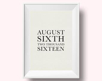 Wedding Date Print, Custom Wedding Date Gift, Wedding Date, Wedding Print, Custom Print, Wedding Gift, Anniversary Gift, Engagement Gift