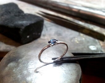 delicate silver ring with Sapphire