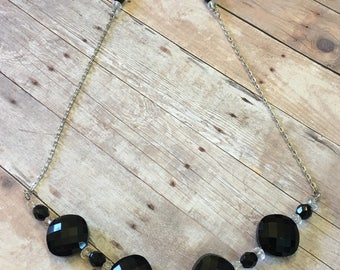 Sparkling Black and Crystal necklace, gift for her